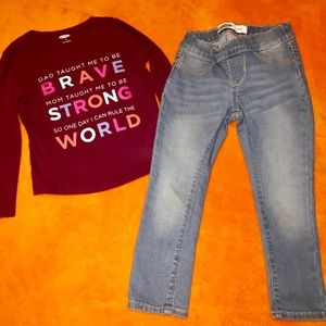 Girls Old Navy size 5 skinny jeans  & size 4T top